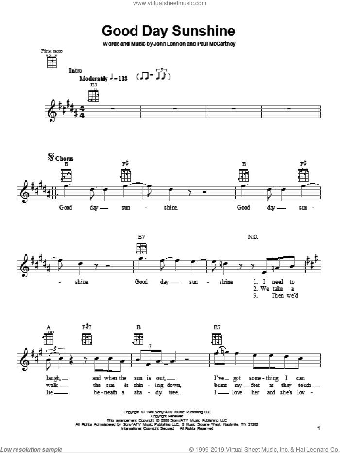 Good Day Sunshine sheet music for ukulele by The Beatles, John Lennon and Paul McCartney, intermediate skill level