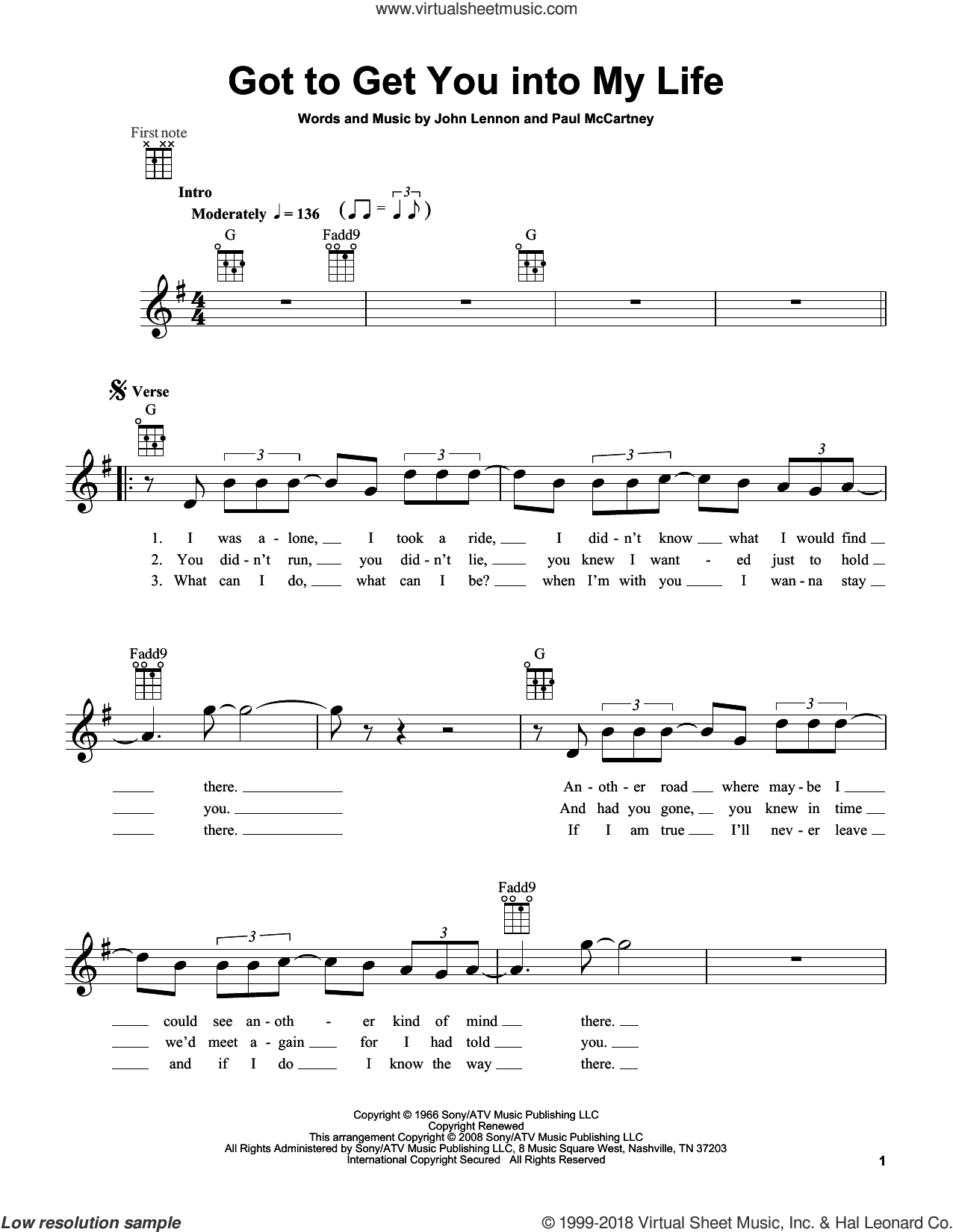 Got To Get You Into My Life sheet music for ukulele by The Beatles, John Lennon and Paul McCartney, intermediate. Score Image Preview.