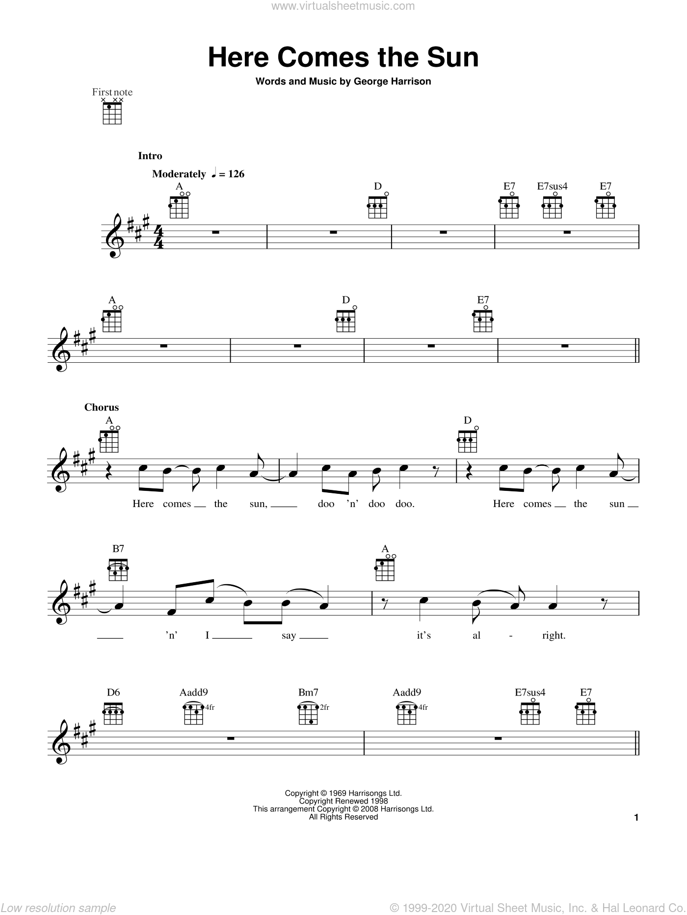 Here Comes The Sun sheet music for ukulele by George Harrison and The Beatles. Score Image Preview.