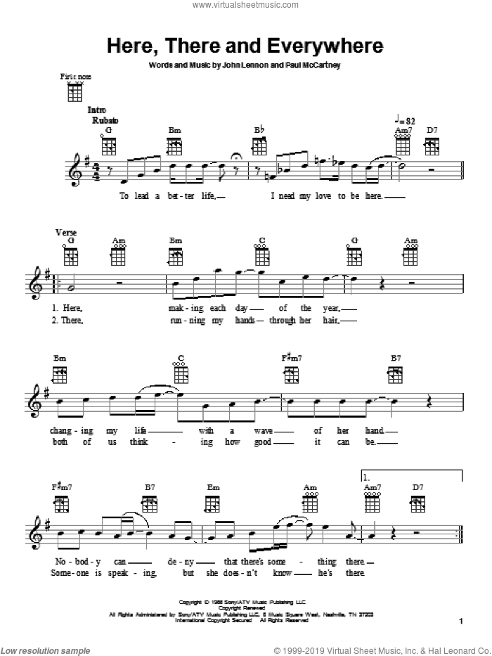 Here, There And Everywhere sheet music for ukulele by The Beatles, John Lennon and Paul McCartney, intermediate skill level