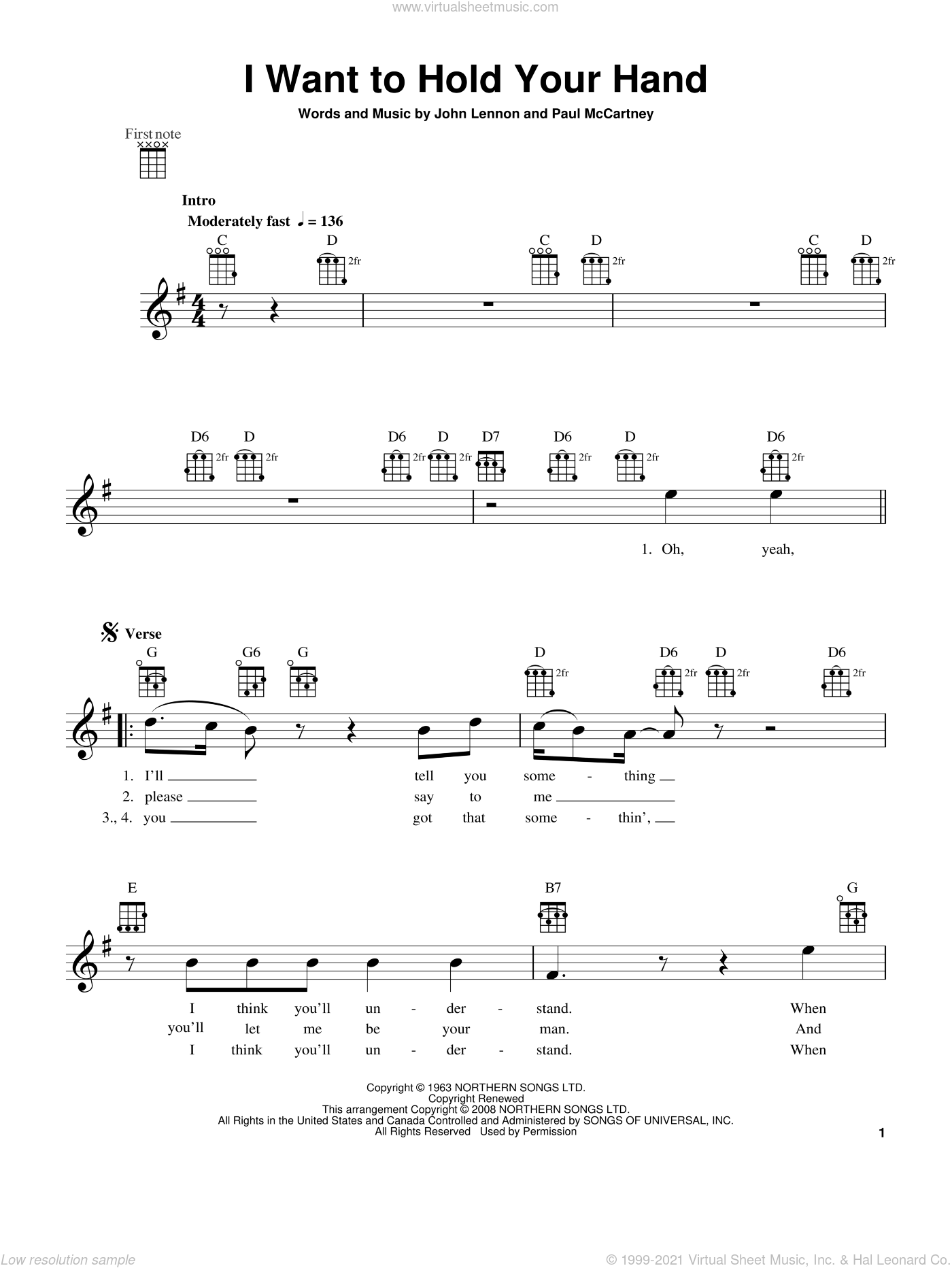 I Want To Hold Your Hand sheet music for ukulele by The Beatles, John Lennon and Paul McCartney, intermediate skill level