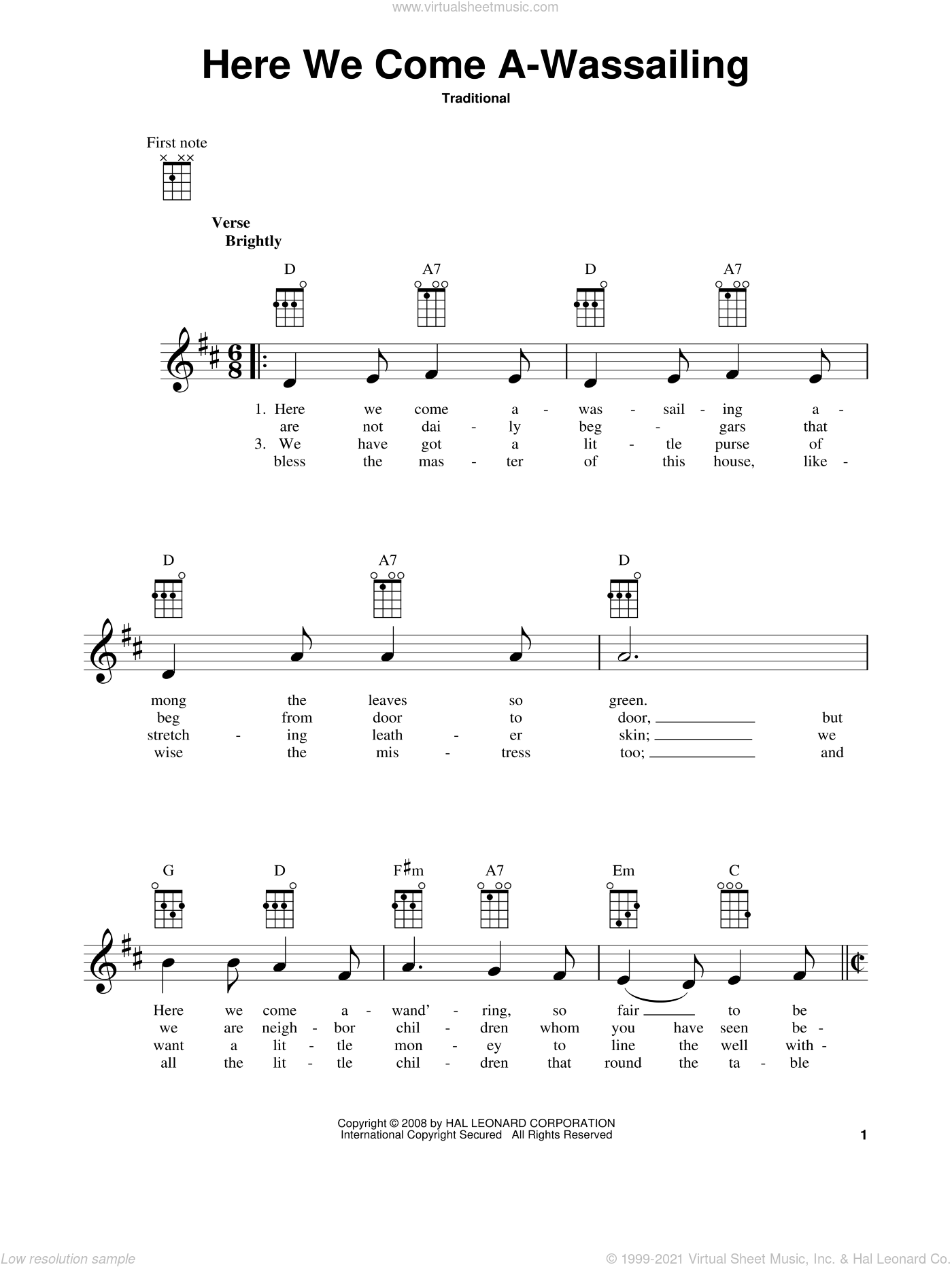 Here We Come A-Wassailing sheet music for ukulele. Score Image Preview.