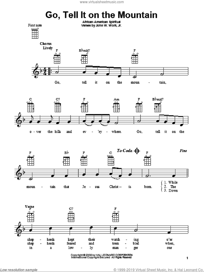 Go, Tell It On The Mountain sheet music for ukulele, intermediate skill level