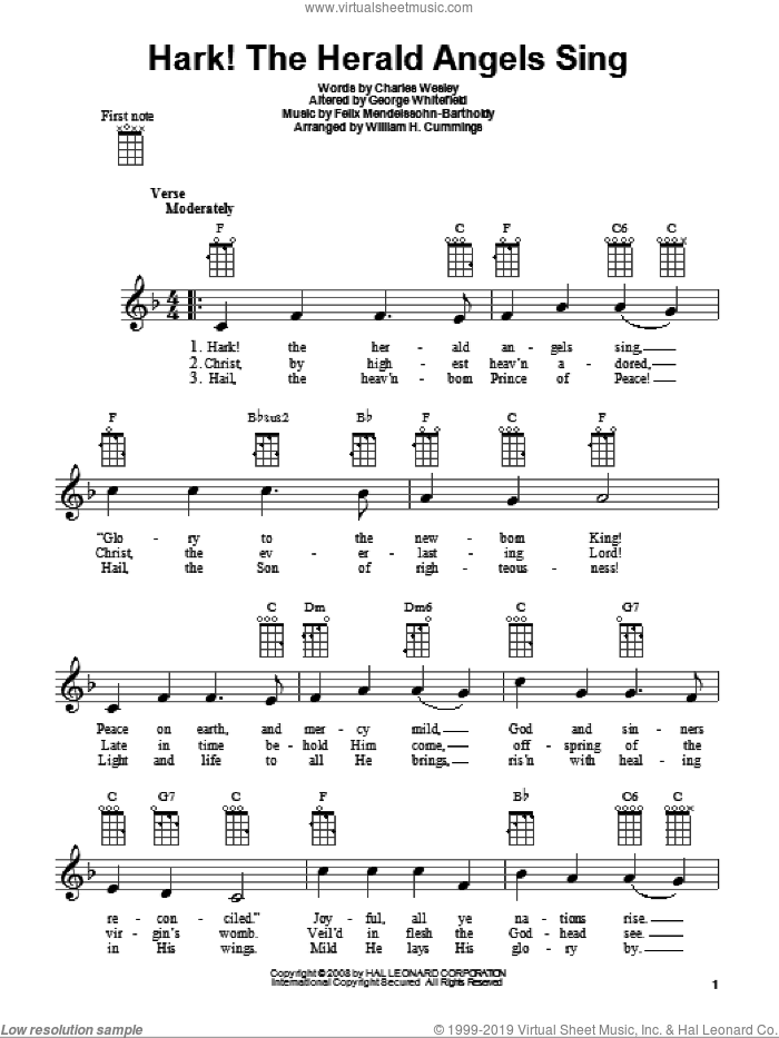 Hark! The Herald Angels Sing sheet music for ukulele by Charles Wesley, Felix Mendelssohn-Bartholdy, George Whitefield and William H. Cummings, intermediate skill level