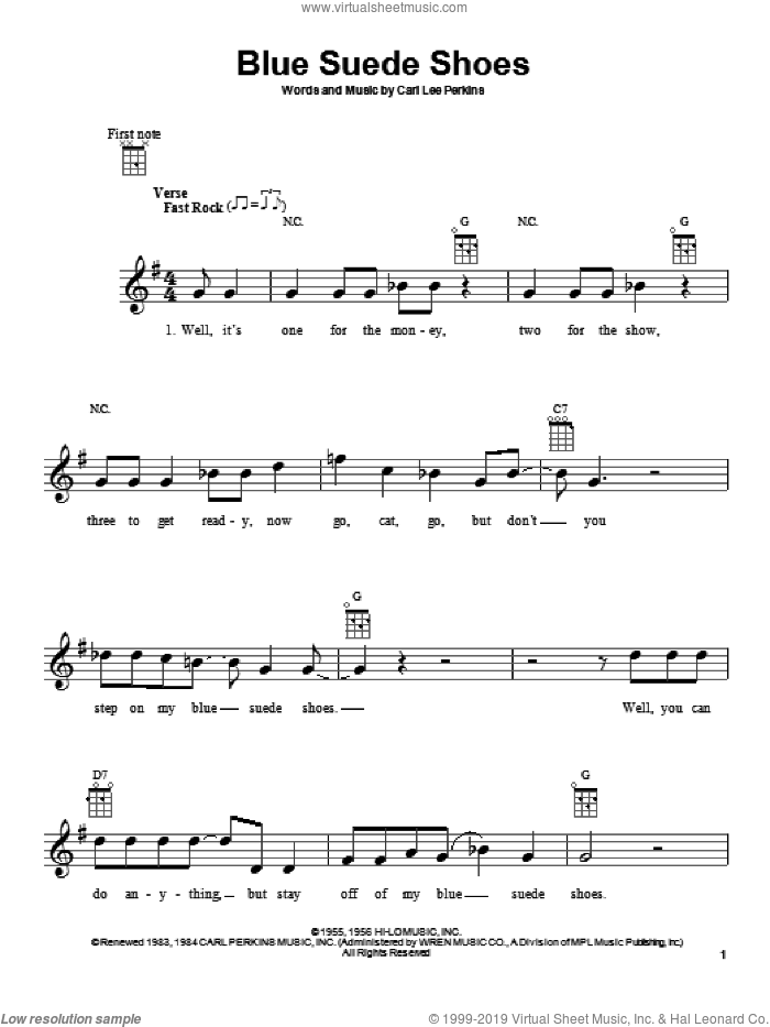 Blue Suede Shoes sheet music for ukulele by Elvis Presley and Carl Perkins, intermediate skill level
