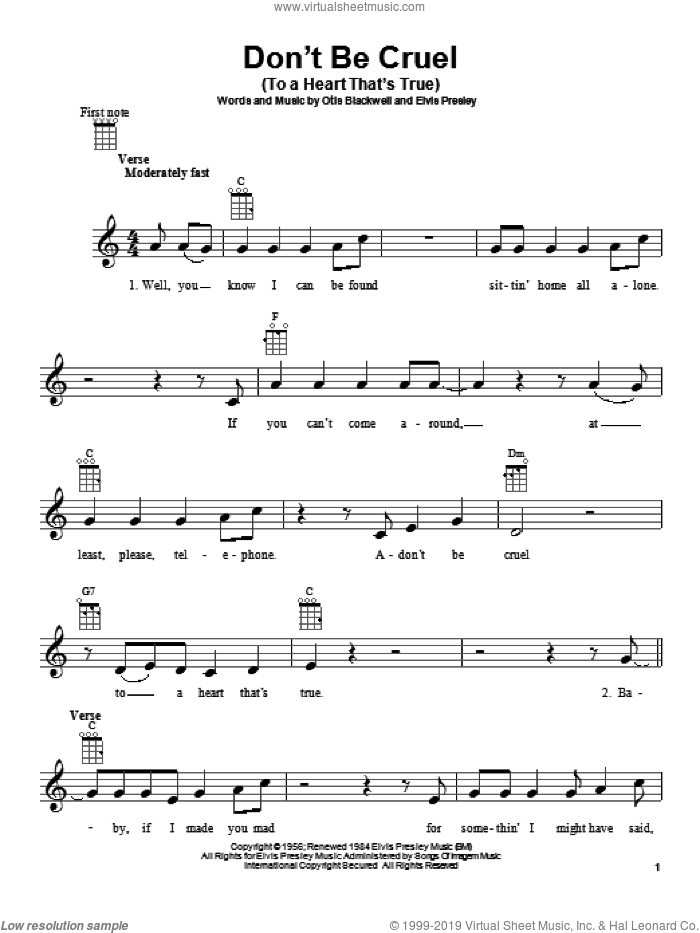 Don't Be Cruel (To A Heart That's True) sheet music for ukulele by Elvis Presley and Otis Blackwell, intermediate skill level