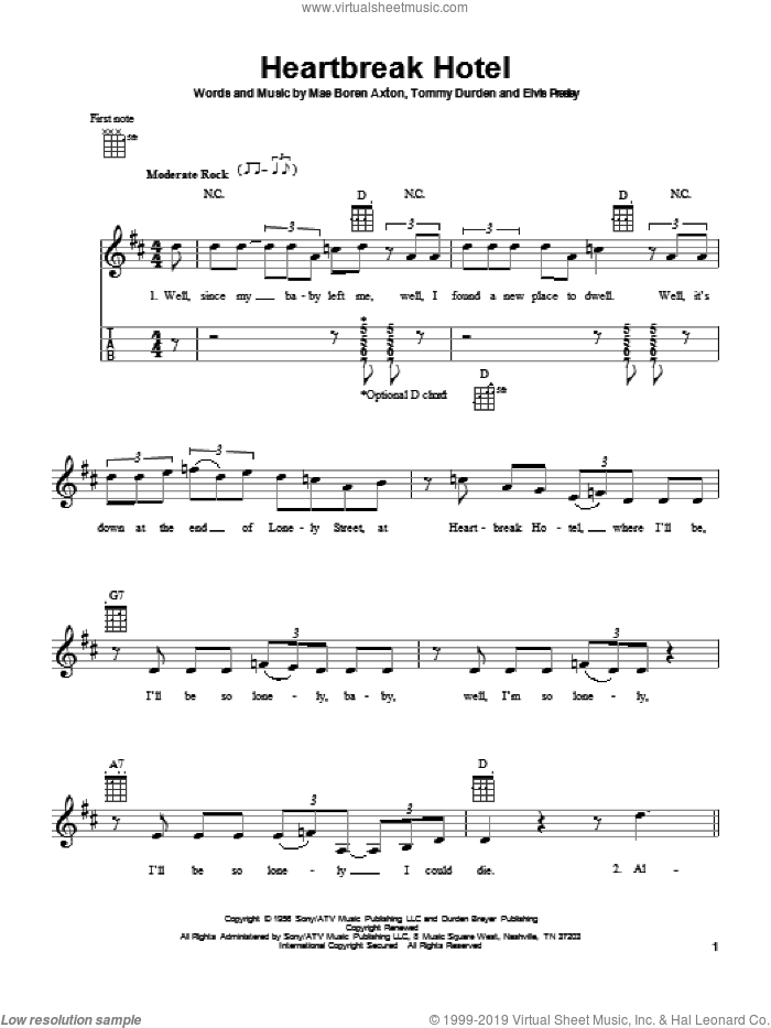 Heartbreak Hotel sheet music for ukulele by Elvis Presley, Mae Boren Axton and Tommy Durden, intermediate skill level