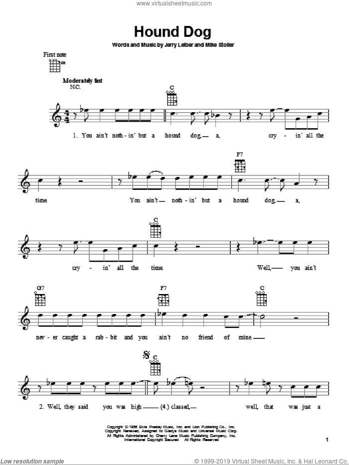 Hound Dog sheet music for ukulele by Mike Stoller