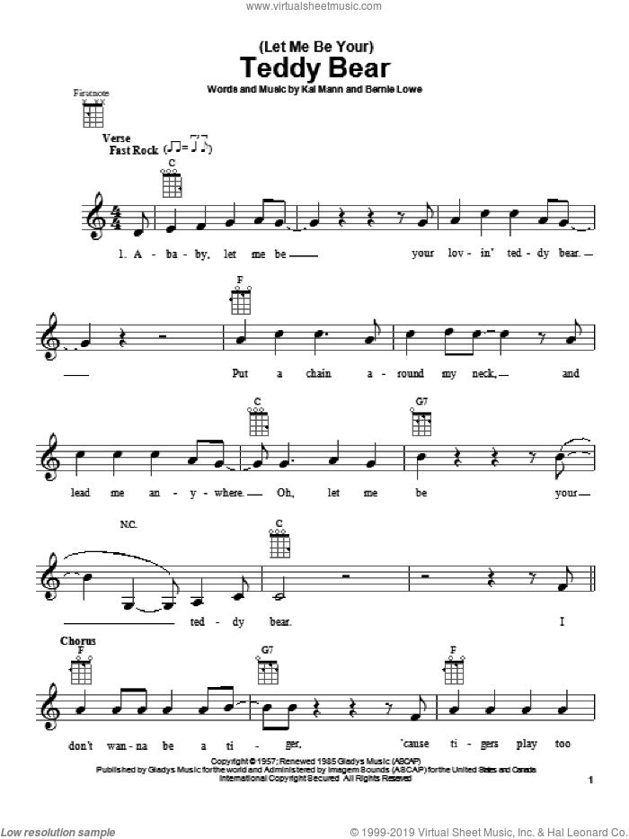 (Let Me Be Your) Teddy Bear sheet music for ukulele by Elvis Presley, Bernie Lowe and Kal Mann, intermediate skill level