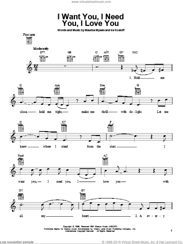 I Want You, I Need You, I Love You sheet music for ukulele by Elvis Presley, Ira Kosloff and Maurice Mysels, intermediate skill level