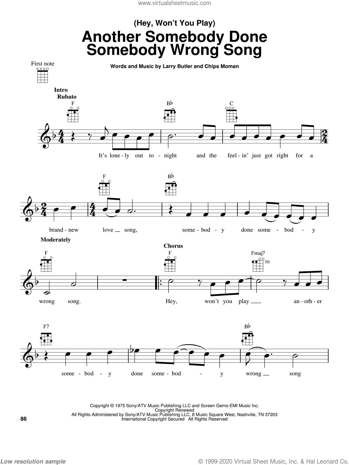(Hey, Won't You Play) Another Somebody Done Somebody Wrong Song sheet music for ukulele by Larry Butler, B.J. Thomas and Chips Moman. Score Image Preview.