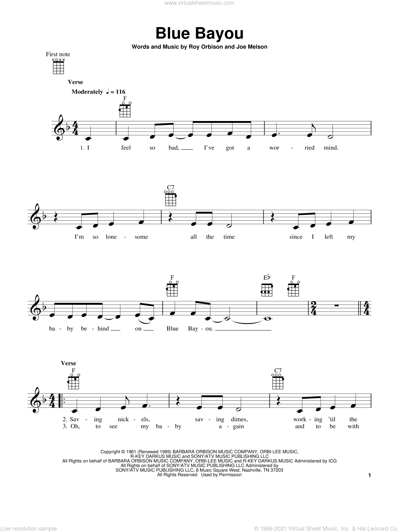 Blue Bayou sheet music for ukulele by Roy Orbison, Linda Ronstadt and Joe Melson, intermediate skill level