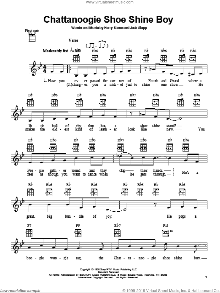 Chattanoogie Shoe Shine Boy sheet music for ukulele by Red Foley, Harry Stone and Jack Stapp, intermediate skill level