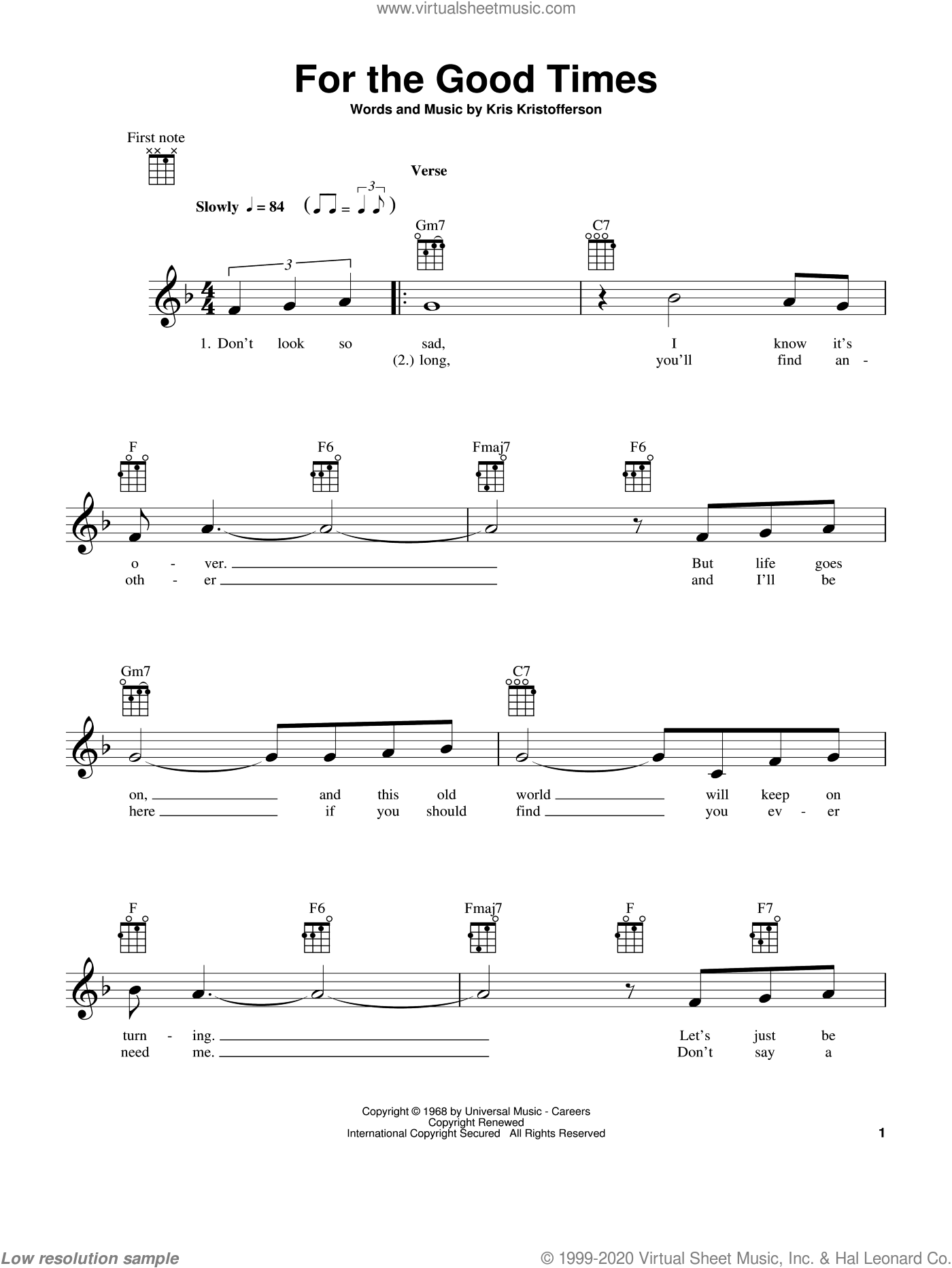 For The Good Times sheet music for ukulele by Kris Kristofferson