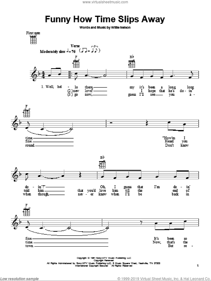 Funny How Time Slips Away sheet music for ukulele by Elvis Presley and Willie Nelson, intermediate. Score Image Preview.
