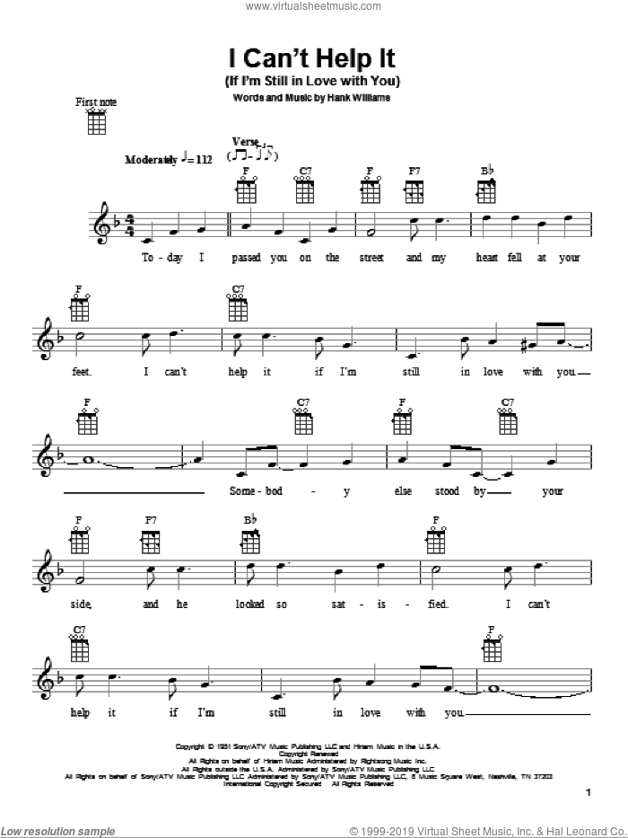 I Can't Help It (If I'm Still In Love With You) sheet music for ukulele by Hank Williams, intermediate skill level