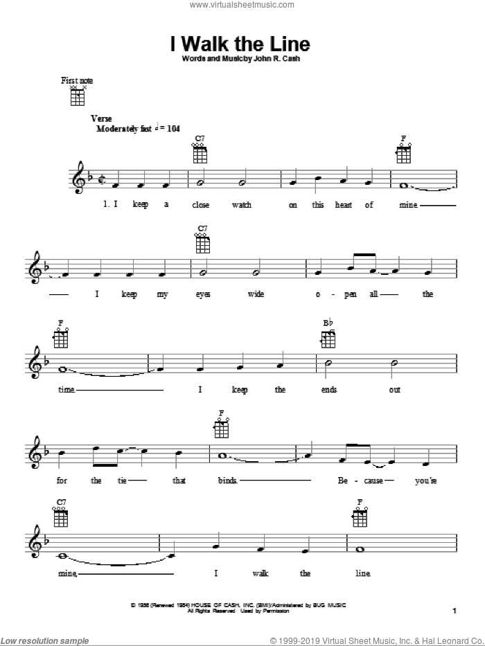 I Walk The Line sheet music for ukulele by Johnny Cash. Score Image Preview.
