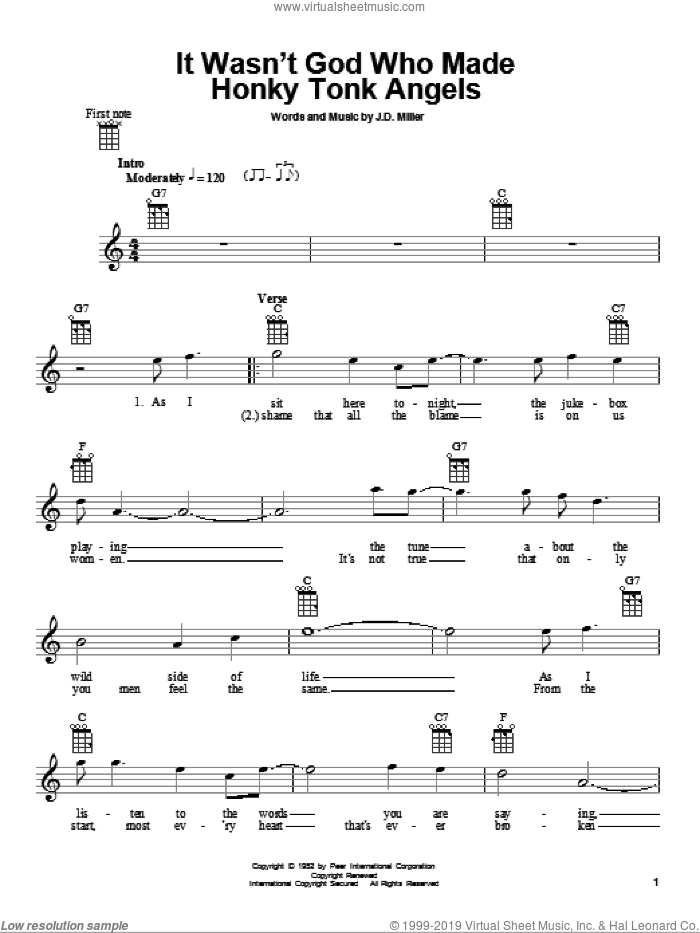 It Wasn't God Who Made Honky Tonk Angels sheet music for ukulele by Kitty Wells and J.D. Miller, intermediate skill level