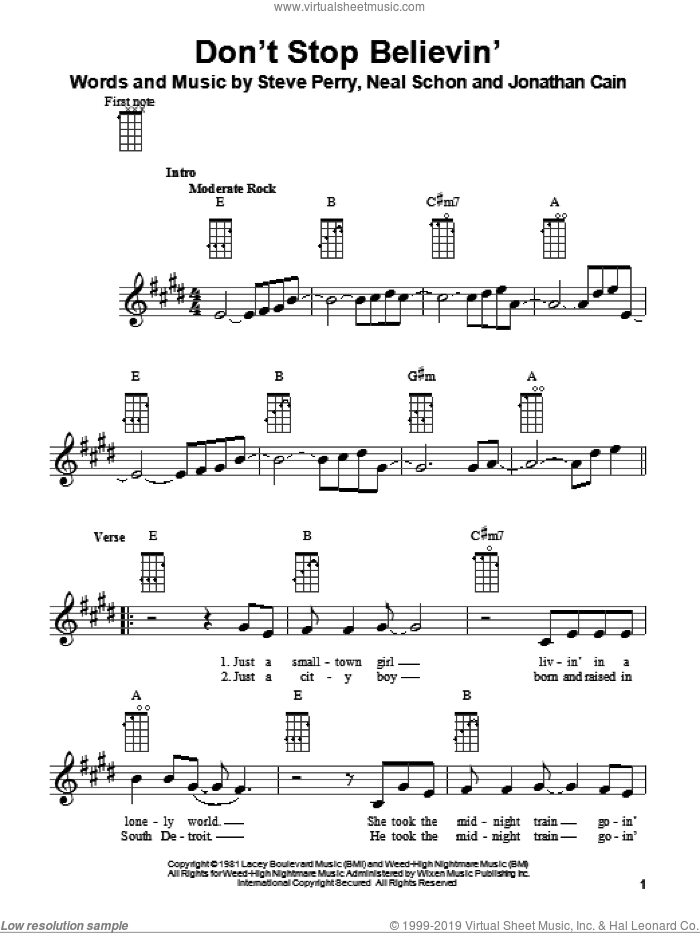 Don't Stop Believin' sheet music for ukulele by Steve Perry, Glee Cast, Jonathan Cain, Journey and Neal Schon. Score Image Preview.