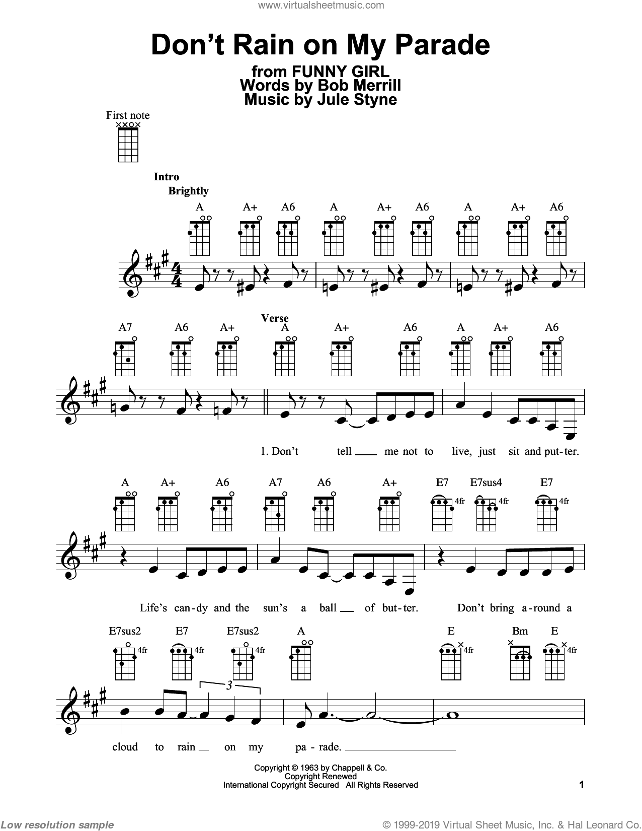 Don't Rain On My Parade sheet music for ukulele by Jule Styne, Barbra Streisand, Bob Merrill and Glee Cast. Score Image Preview.