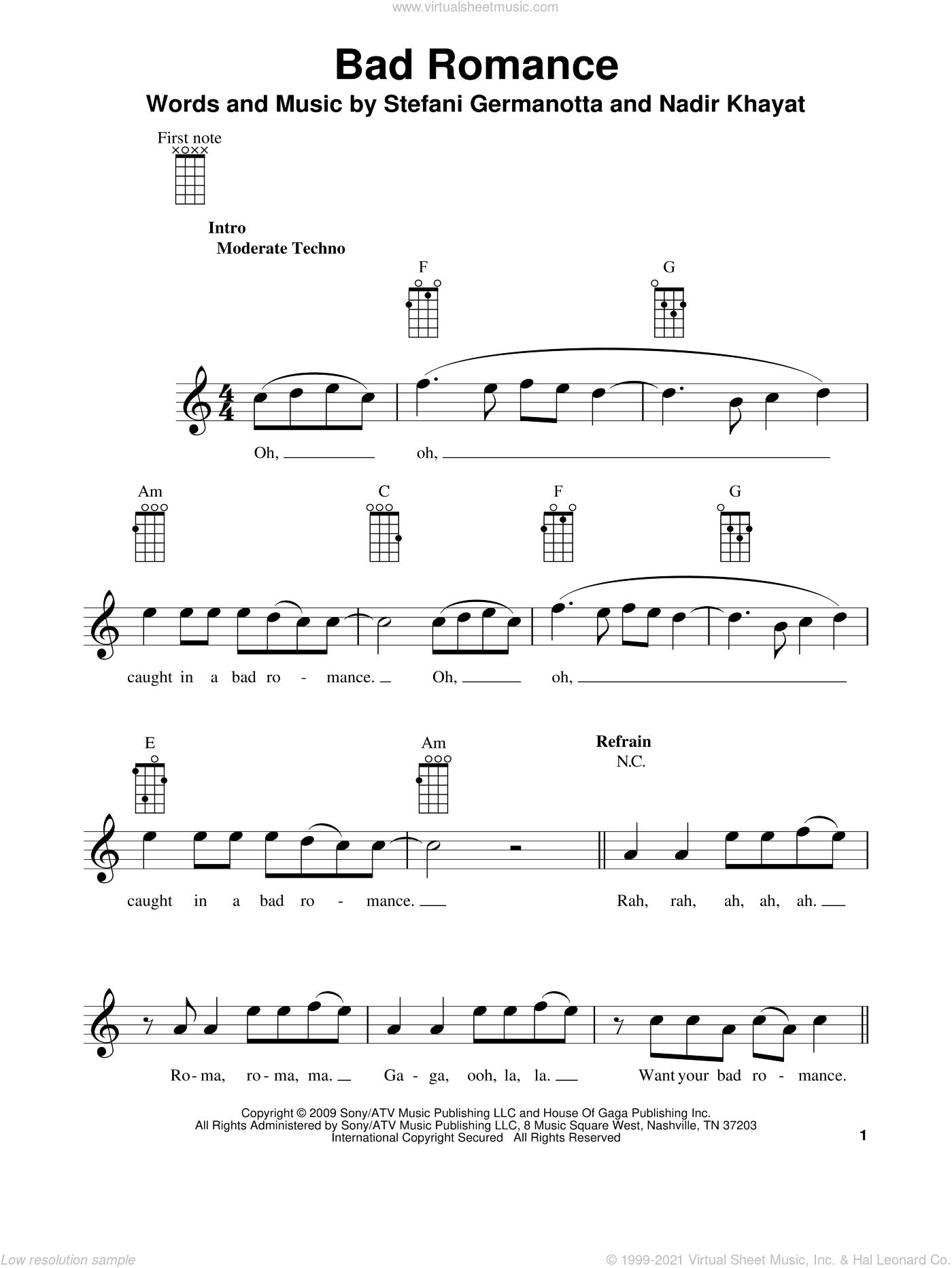 Bad Romance sheet music for ukulele by Lady GaGa, Glee Cast and Nadir Khayat, intermediate skill level