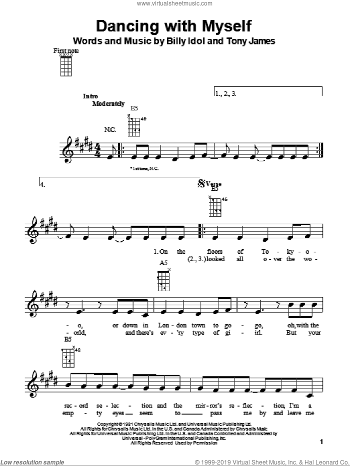 Dancing With Myself sheet music for ukulele by Billy Idol, Glee Cast and Tony James, intermediate skill level