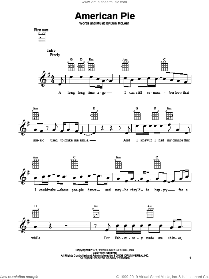American Pie sheet music for ukulele by Don McLean, intermediate. Score Image Preview.