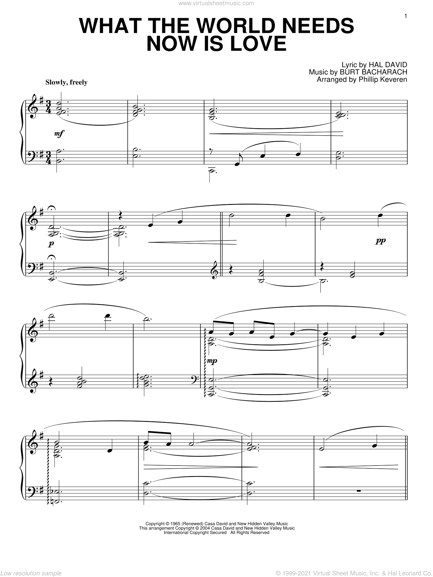 What The World Needs Now Is Love sheet music for piano solo by Bacharach & David, Phillip Keveren, Burt Bacharach and Hal David, wedding score, intermediate skill level