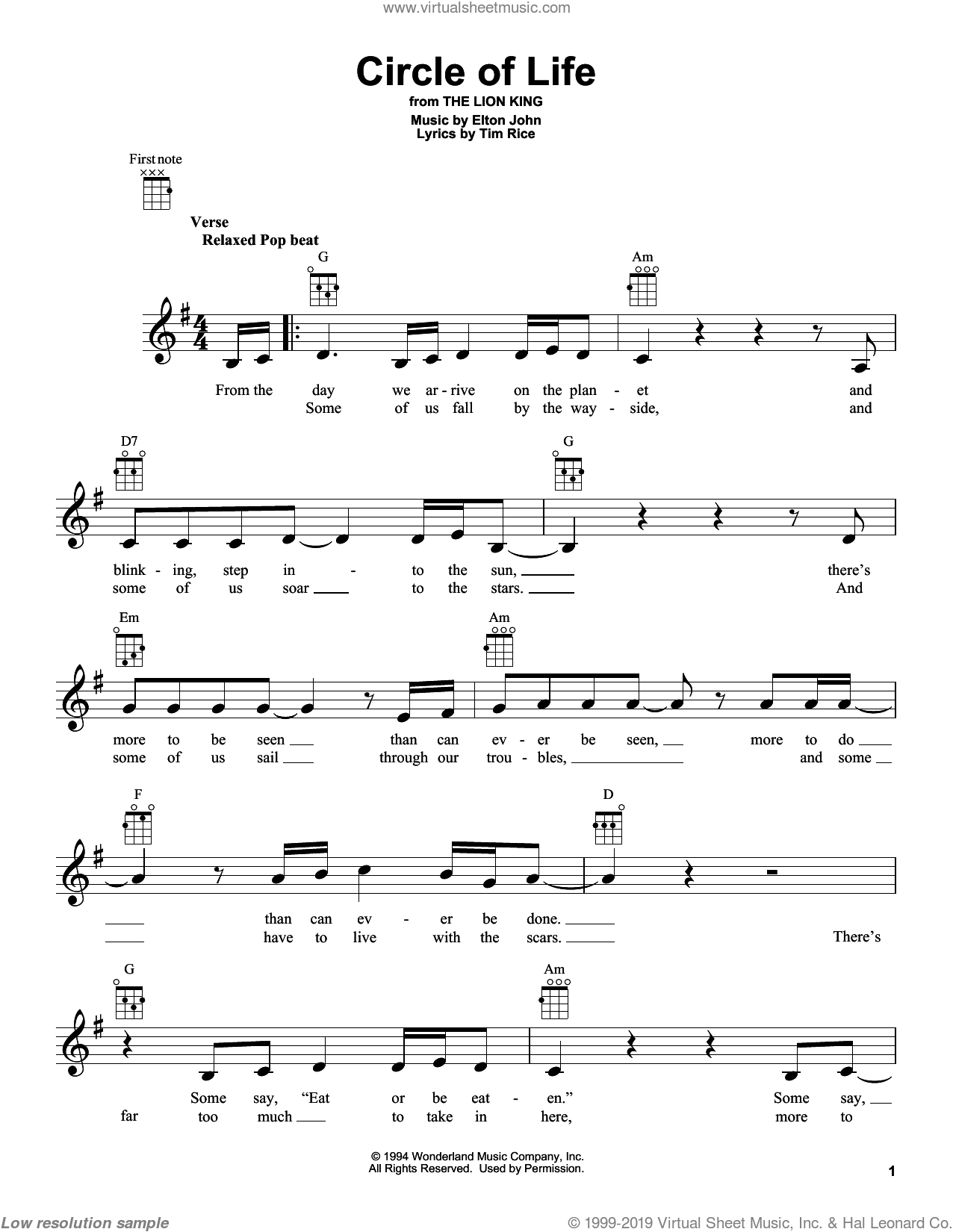 Circle Of Life sheet music for ukulele by Elton John and Tim Rice, intermediate skill level