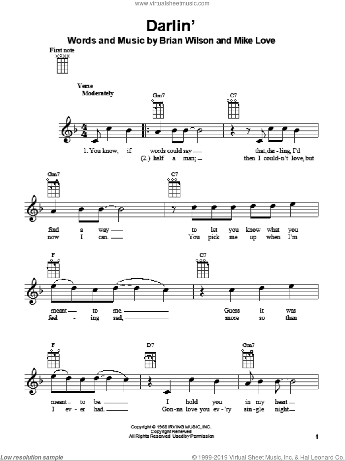Darlin' sheet music for ukulele by The Beach Boys, Brian Wilson and Mike Love, intermediate skill level