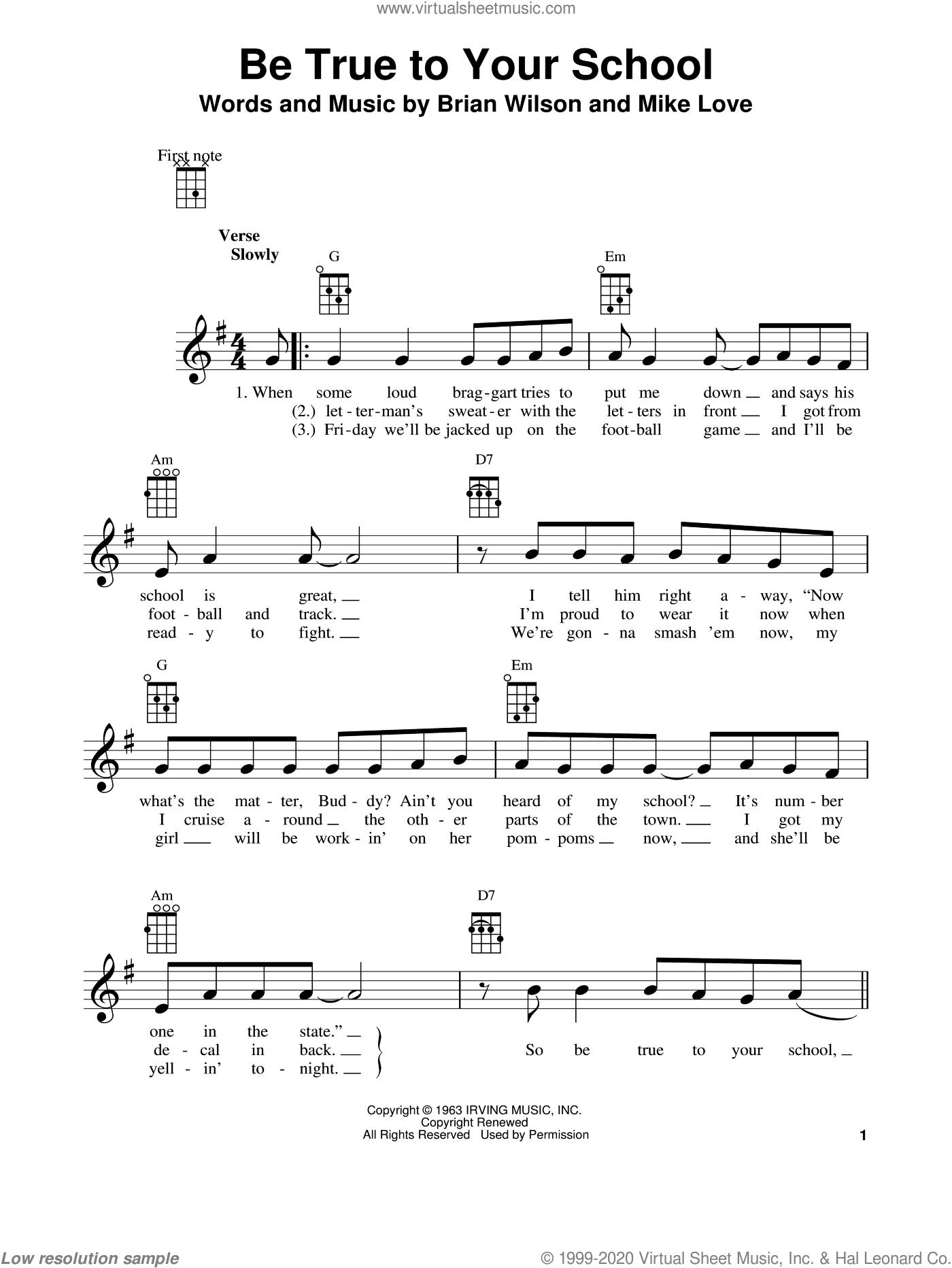 Be True To Your School sheet music for ukulele by The Beach Boys, Brian Wilson and Mike Love, intermediate skill level