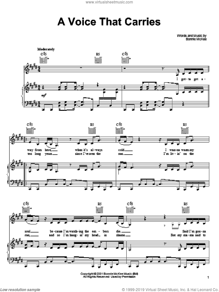 A Voice That Carries sheet music for voice, piano or guitar by Bonnie McKee, intermediate. Score Image Preview.