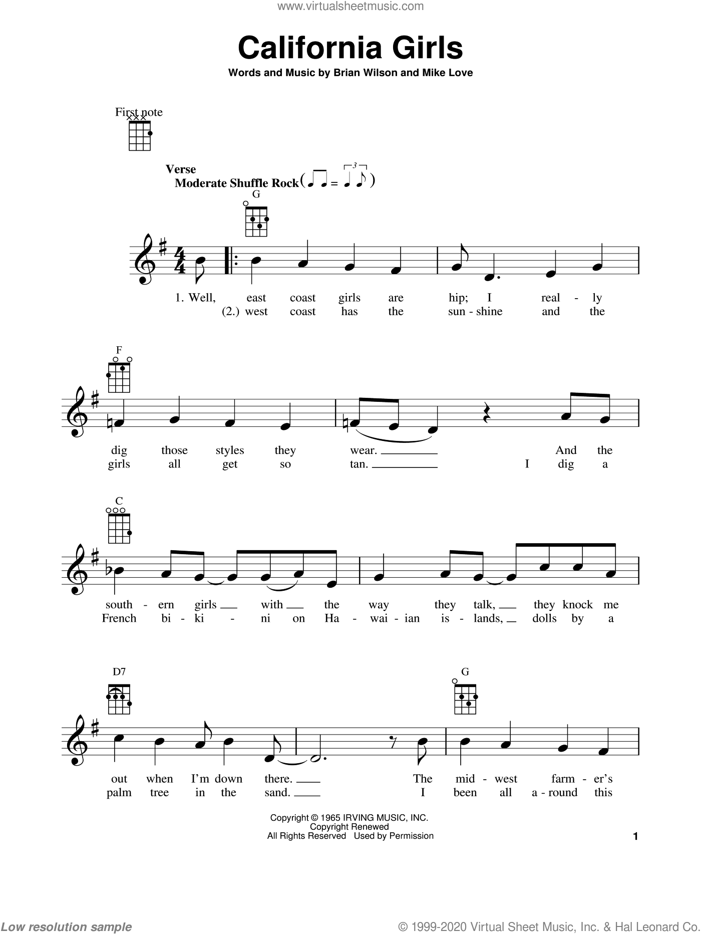 California Girls sheet music for ukulele by The Beach Boys, Brian Wilson and Mike Love, intermediate skill level