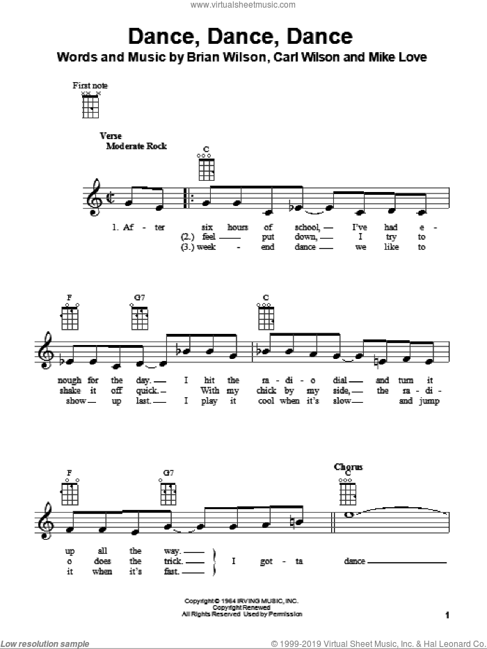 Dance, Dance, Dance sheet music for ukulele by Mike Love, The Beach Boys, Brian Wilson and Carl Wilson. Score Image Preview.