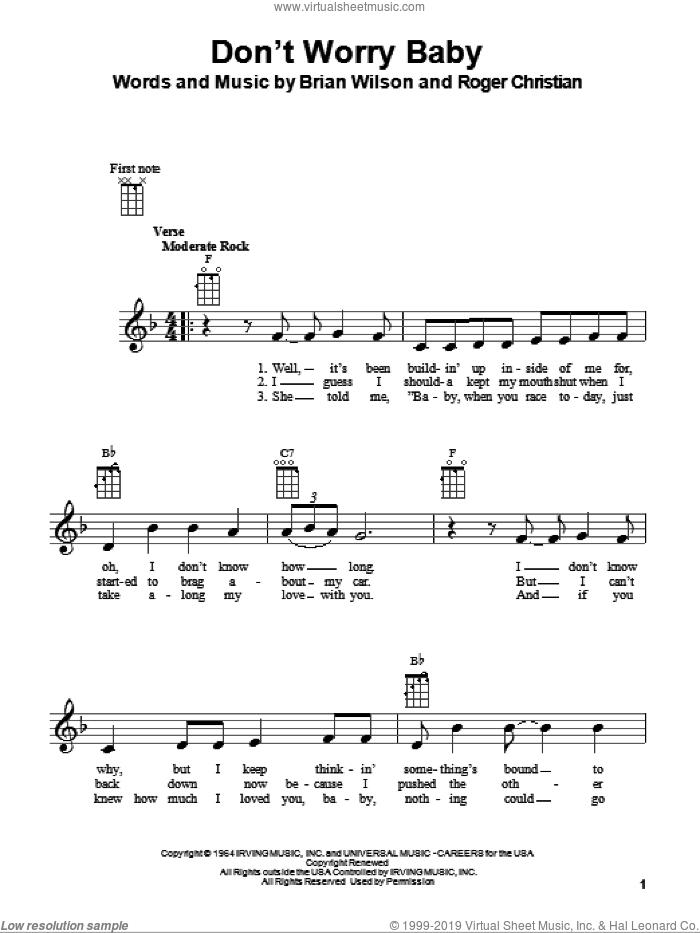 Don't Worry Baby sheet music for ukulele by The Beach Boys, Brian Wilson and Roger Christian, intermediate skill level