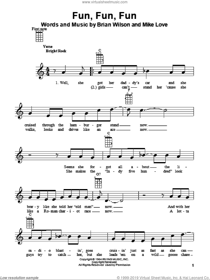 Fun, Fun, Fun sheet music for ukulele by Mike Love, The Beach Boys and Brian Wilson. Score Image Preview.