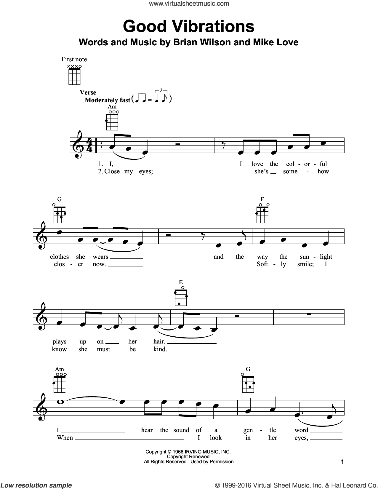 Good Vibrations sheet music for ukulele by Mike Love, The Beach Boys and Brian Wilson. Score Image Preview.