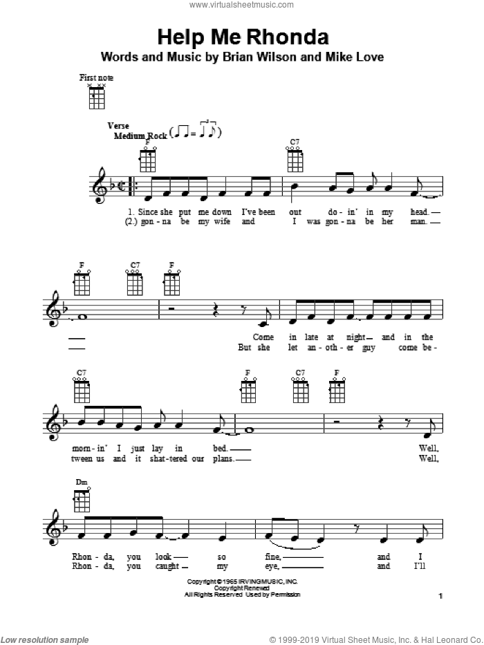 Help Me Rhonda sheet music for ukulele by Mike Love, The Beach Boys and Brian Wilson. Score Image Preview.