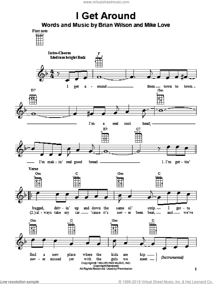I Get Around sheet music for ukulele by The Beach Boys, Brian Wilson and Mike Love, intermediate skill level