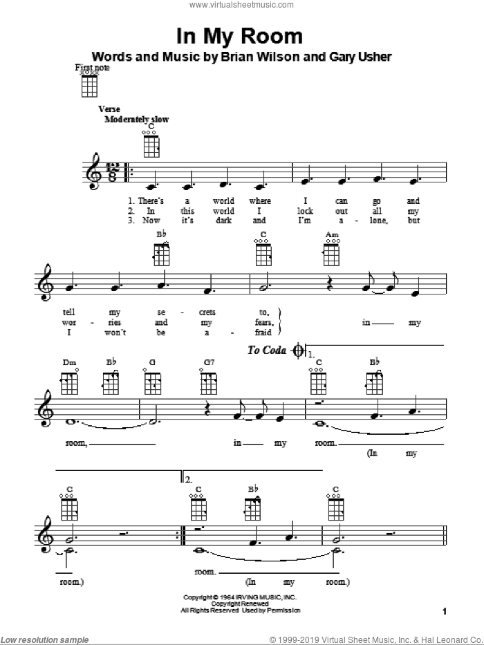 In My Room sheet music for ukulele by Gary Usher, The Beach Boys and Brian Wilson. Score Image Preview.