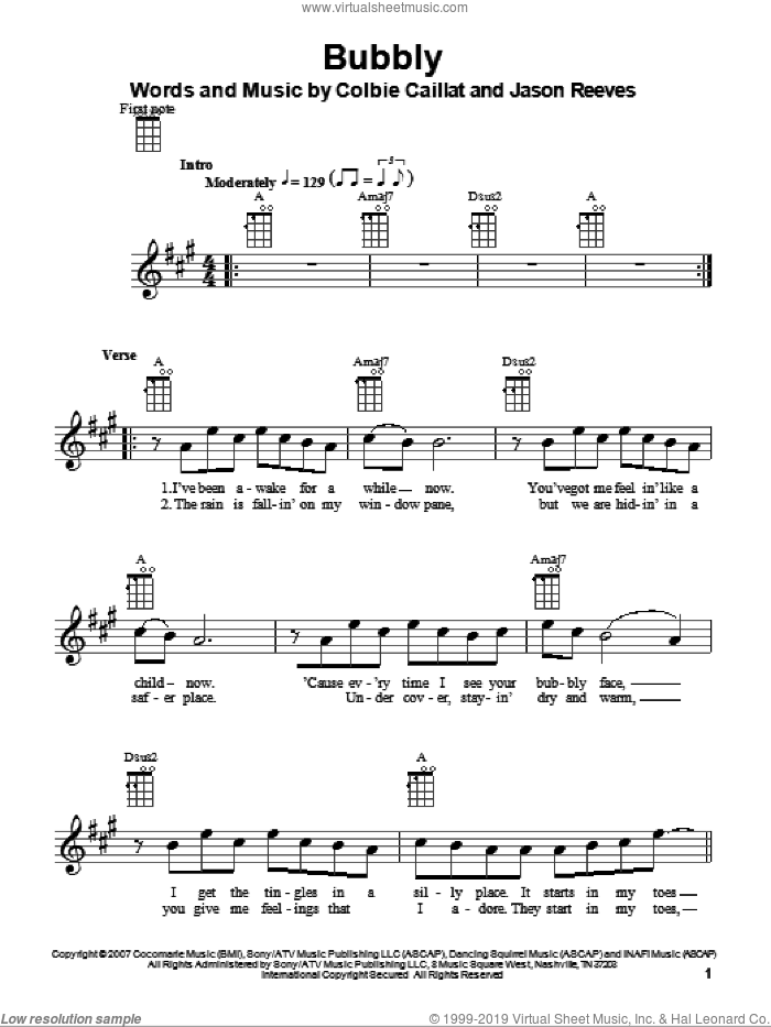 Bubbly sheet music for ukulele by Colbie Caillat and Jason Reeves, intermediate skill level