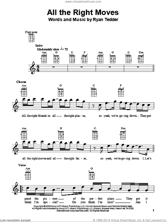 All The Right Moves sheet music for ukulele by OneRepublic and Ryan Tedder, intermediate skill level