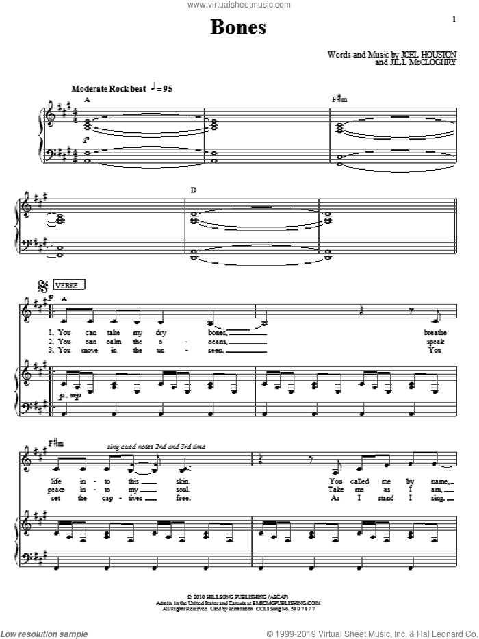 Bones sheet music for voice, piano or guitar by Joel Houston and Hillsong United. Score Image Preview.