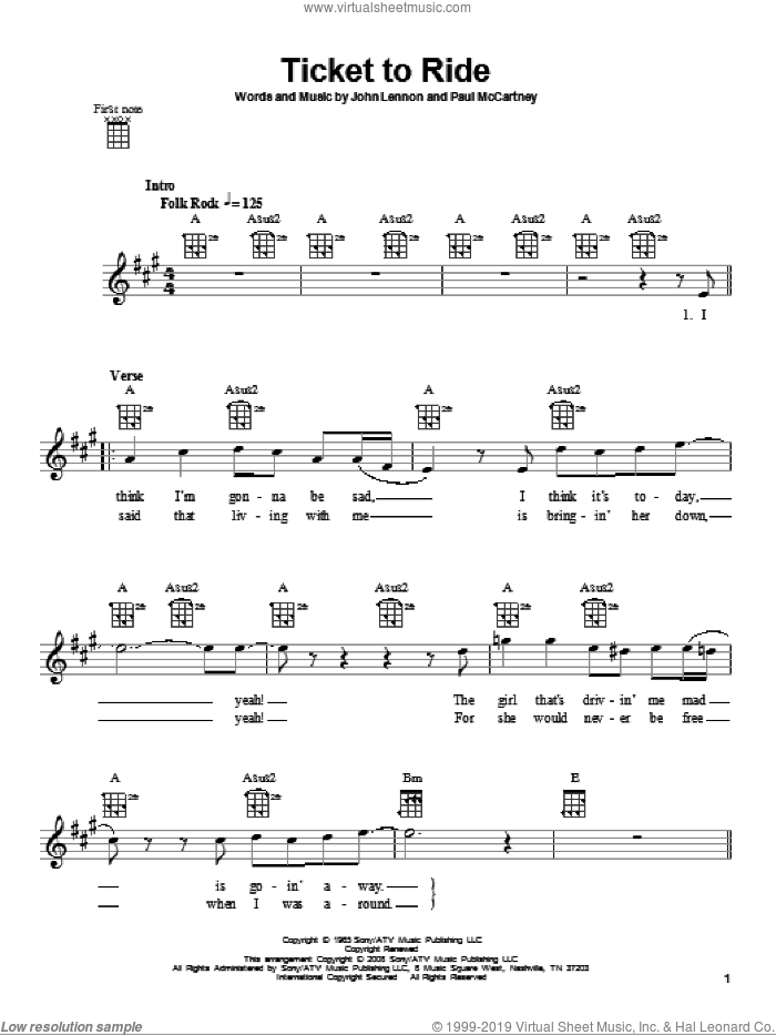Ticket To Ride sheet music for ukulele by Paul McCartney, The Beatles and John Lennon. Score Image Preview.