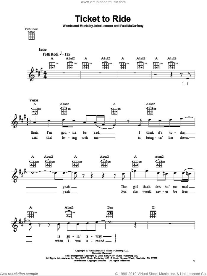 Ticket To Ride sheet music for ukulele by The Beatles, John Lennon and Paul McCartney, intermediate skill level