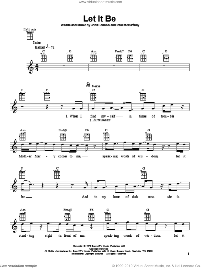 Let It Be sheet music for ukulele by The Beatles, John Lennon and Paul McCartney, intermediate skill level