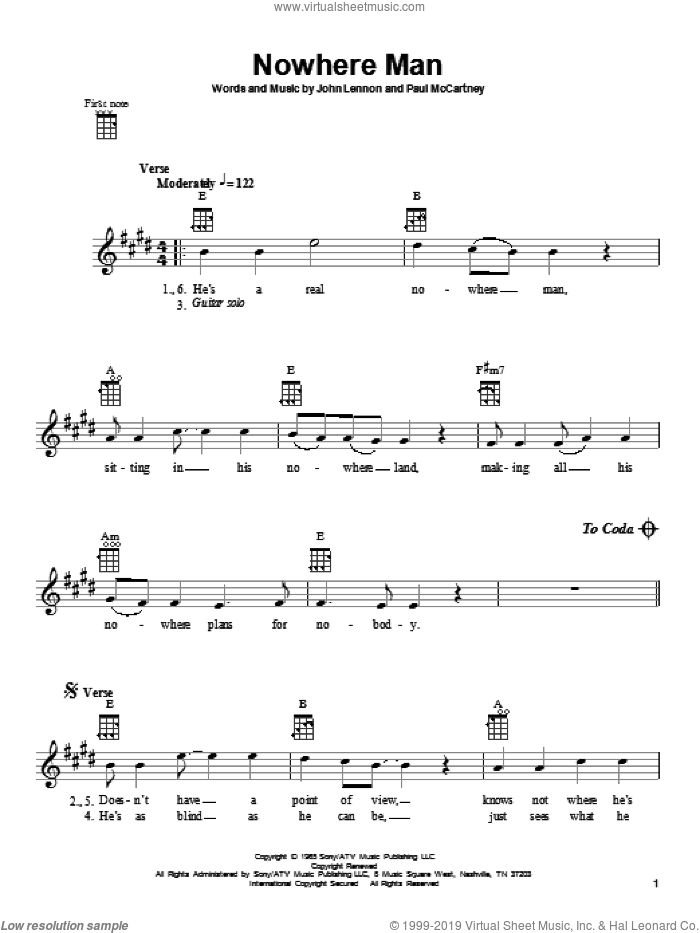 Nowhere Man sheet music for ukulele by The Beatles, John Lennon and Paul McCartney, intermediate skill level