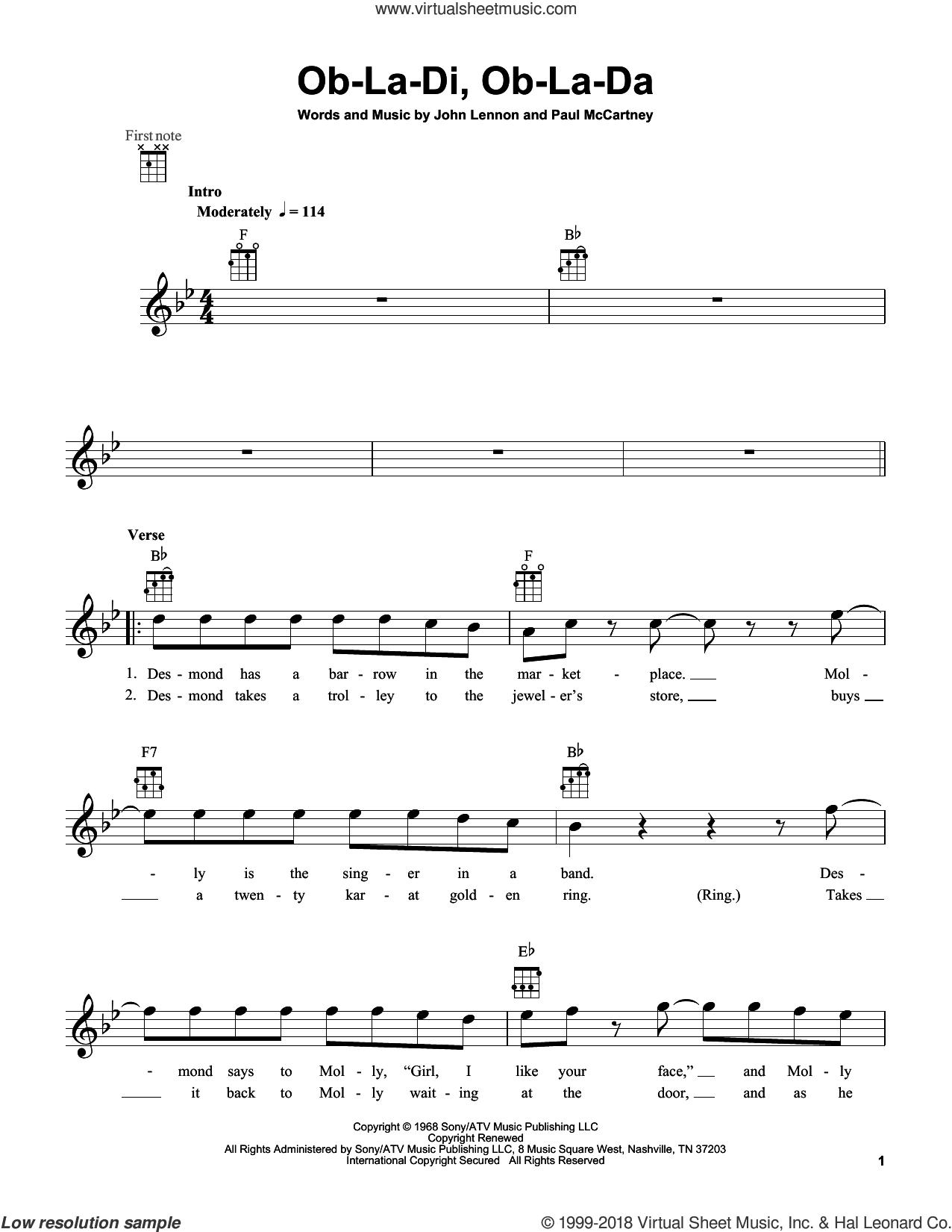 Ob-La-Di, Ob-La-Da sheet music for ukulele by The Beatles, John Lennon and Paul McCartney, intermediate skill level