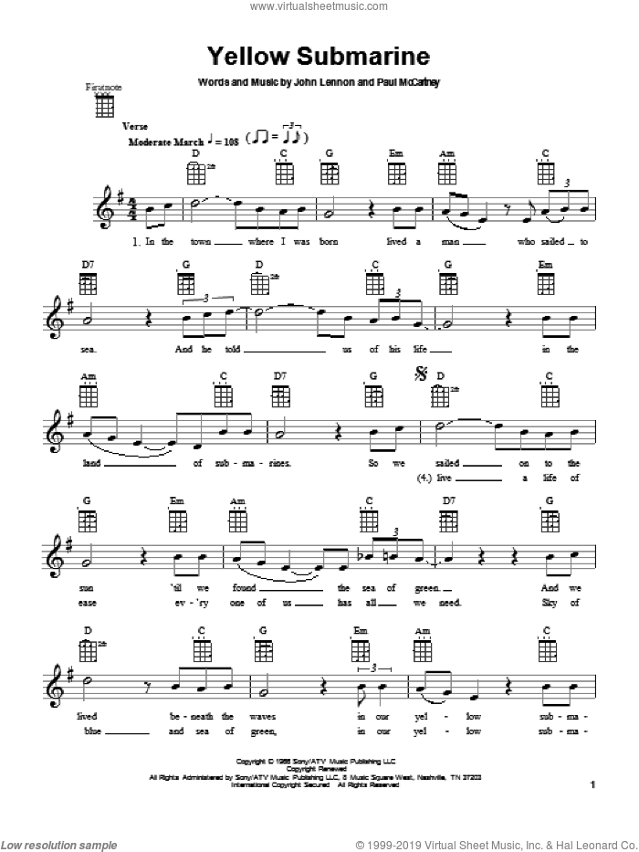 Yellow Submarine sheet music for ukulele by The Beatles, John Lennon and Paul McCartney, intermediate skill level