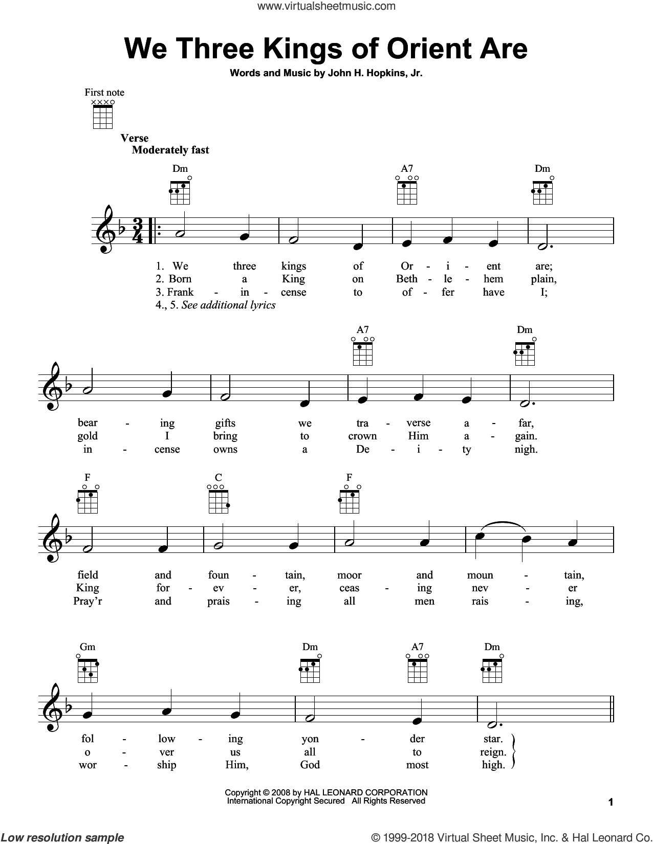 We Three Kings Of Orient Are sheet music for ukulele by John H. Hopkins, Jr., intermediate. Score Image Preview.